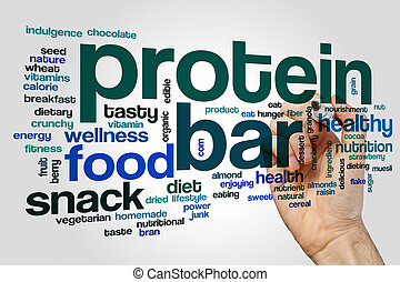 Protein bar word cloud concept on grey background