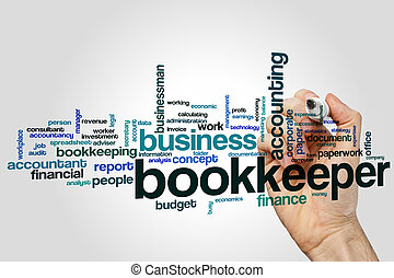 Bookkeeper word cloud concept on grey background