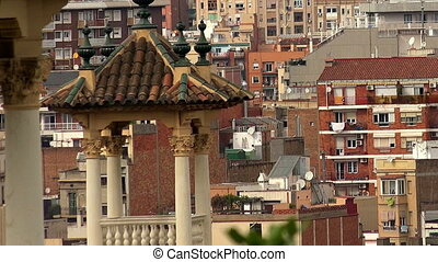 Roofs of old houses in Barcelona. Spain.