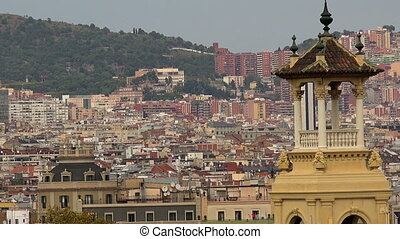 Roofs of old houses in Barcelona. Spain. - Roofs of old...