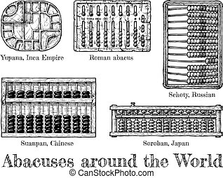 illustration of different abacus - Abacuses around the...