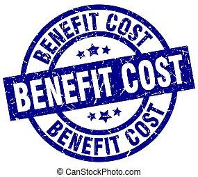 benefit cost blue round grunge stamp