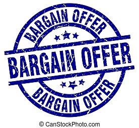 bargain offer blue round grunge stamp