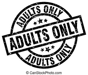 adults only round grunge black stamp