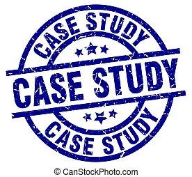 case study blue round grunge stamp