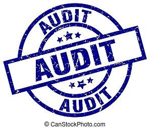 audit blue round grunge stamp