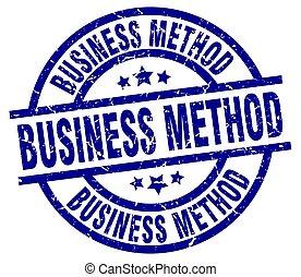 business method blue round grunge stamp