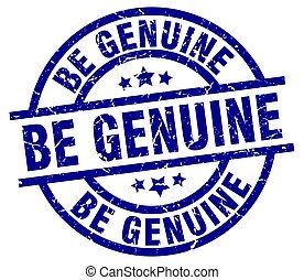 be genuine blue round grunge stamp