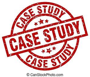 case study round red grunge stamp
