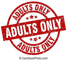 adults only round red grunge stamp