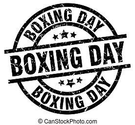 boxing day round grunge black stamp