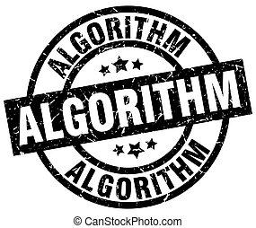 algorithm round grunge black stamp