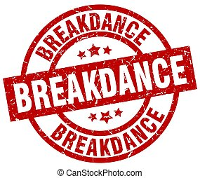 breakdance round red grunge stamp