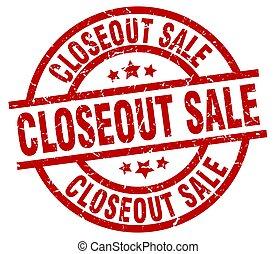 closeout sale round red grunge stamp