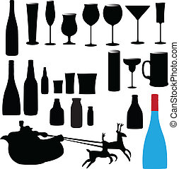 bottle and glass vector