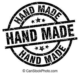 hand made round grunge black stamp