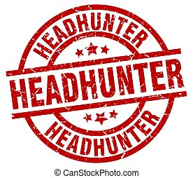 headhunter round red grunge stamp