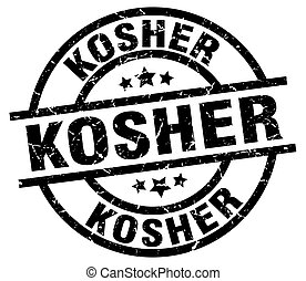 kosher round grunge black stamp