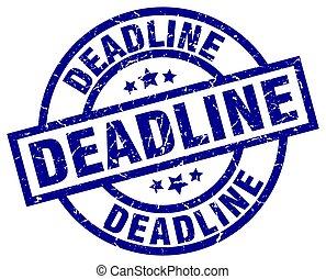 deadline blue round grunge stamp