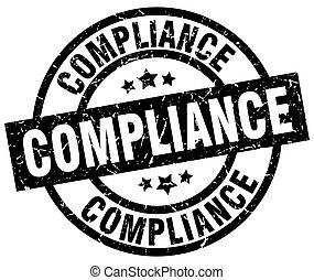 compliance round grunge black stamp