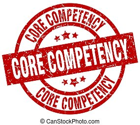 core competency round red grunge stamp