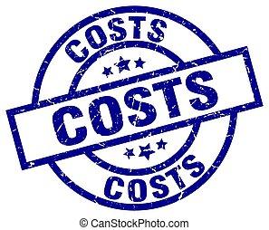 costs blue round grunge stamp