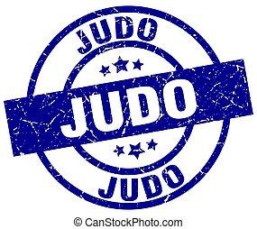 judo blue round grunge stamp