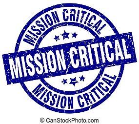 mission critical blue round grunge stamp