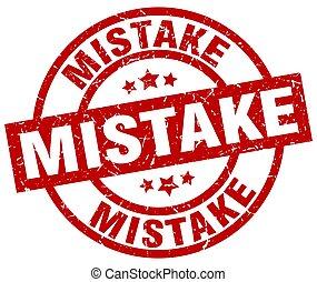 mistake round red grunge stamp
