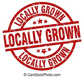 locally grown round red grunge stamp