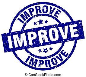 improve blue round grunge stamp