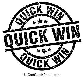 quick win round grunge black stamp