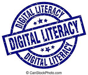 digital literacy blue round grunge stamp