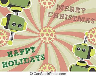 Christmas Robot Background Swirls a