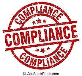 compliance round red grunge stamp