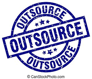 outsource blue round grunge stamp