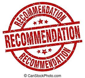 recommendation round red grunge stamp