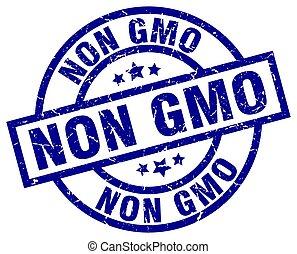 non gmo blue round grunge stamp