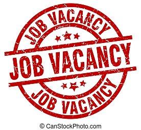job vacancy round red grunge stamp