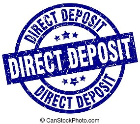direct deposit blue round grunge stamp