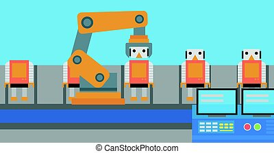 Robotic production line for assembly of toys. - Factory...