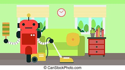 Robot cleaning carpet with vacuum cleaner.