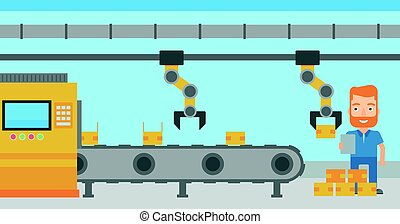 Robotic arm working on production line. - Caucasian engineer...