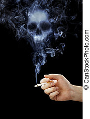Smoking kills - Hand holding a cigarette with deadly smoke.