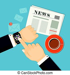 business news with businessman hand showing on the smart watch
