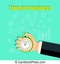 time for business with stopwatch in the businessman hand -...
