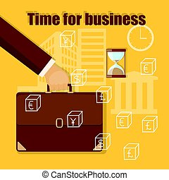 time for business with briefcase in the businessman hand -...