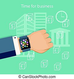 time for business with smart watch on the hand - Flat modern...
