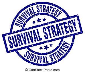 survival strategy blue round grunge stamp