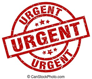 urgent round red grunge stamp